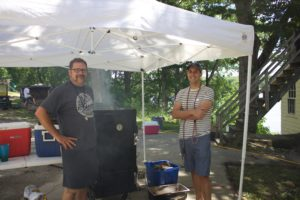 Dave and John with the beloved meat smoker